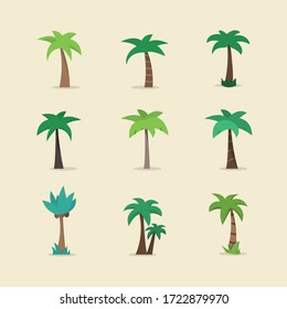 Palm tree icon ,sign,symbol,pictogram set in flat style isolated on a background.Exotic,tropical plants collection
