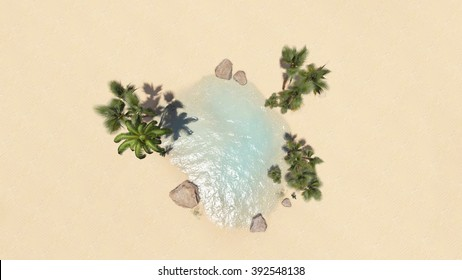 palm tree and oasis beautiful desert top view illustrations