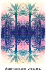 Palm tree print,reflected in multicolor, for t-shirt graphic and other uses