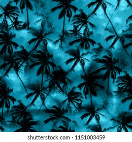 Palm tree shirt tropical pattern black silhouettes palm leaves on a blue sky. Monochrome jungle print palm seamless background - exotic photo design - mixing floral pattern indigo trendy color.