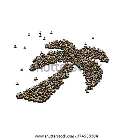 Palm Tree Symbol Glyph Out Tiny Stock Illustration 374538304