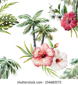 palm tree, watercolor, bird, jungle, hibiscus pattern