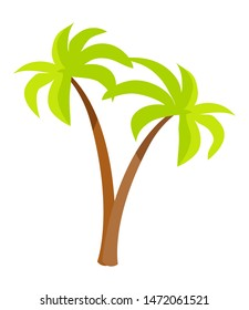 Palm trees with green leaves and brown trunk exotic plants icons in flat style design tropical jungle forest plant raster illustration isolated on white