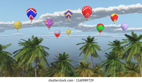 Palm trees and hot air balloons over the sea Computer generated 3D illustration