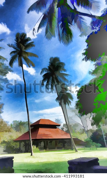 Palm Trees House Red Roof House Stock Illustration 411993181