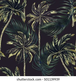 Palm trees, jungle leaves seamless floral tropical pattern background, vintage style