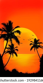 palm trees on a background of sunset in orange tones