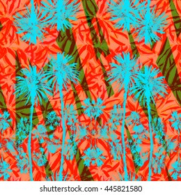 Palm trees seamless pattern with tropical petals and leaves. Orange Watercolor floral and palm leaf graphic creative background.