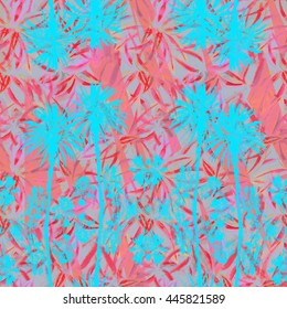 Palm trees seamless pattern with tropical petals and leaves. Pink Blue Watercolor floral and palm leaf graphic creative background.