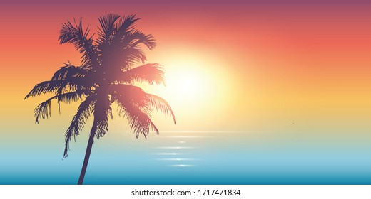 palm trees silhouette on a sunny day summer holiday design illustration