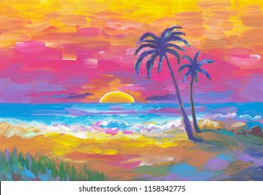 Palm trees in a stunning and colorful sunset on the beach. Sun, beach, palms, sea, waves landscape. Colorful abstract artwork hand painted. Vacation tropical landscape. Hawaii paradise seascape.