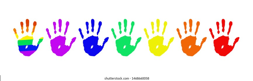 Palms with rainbow colors of LGBT flag isolated on white background. Concept stop homophobia. Handprint, arm symbol icon Pride day