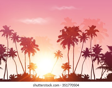 Palms silhouettes at pink sunset sky background