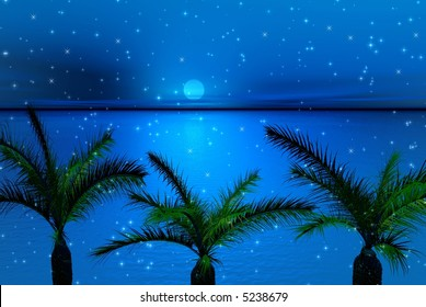 Palms and snowflakes. Winter  3d picture