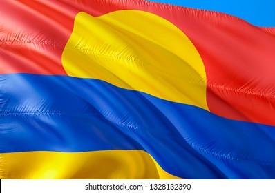 Palmyra atoll flag. 3D Waving USA state flag design. The national US symbol of Palmyra atoll state, 3D rendering. National colors and National flag of Palmyra atoll for a background.American state