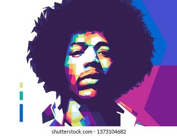 """Palu Indonesia, april 18th, 2019 : James Marshall """"Jimi"""" Hendrix legend music on color pop art style."""