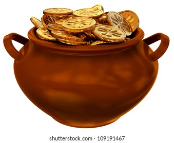 pan with coins as a symbol of fortune and wealth