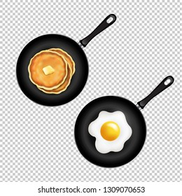 Pan With Pancake And Fried Eggs Isolated Transparent Background
