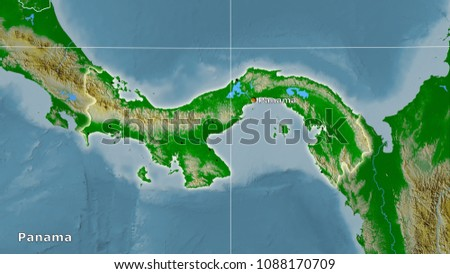 Panama Area On Topographic Physical Map Stock Illustration