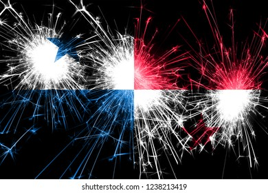 Panama fireworks sparkling flag. New Year, Christmas and National day concept