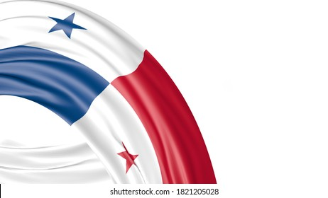 Panama National Flag Isolated on white background with copy space. 3D illustration