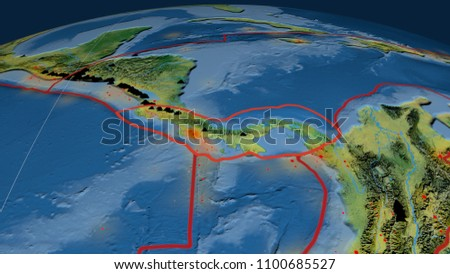 Topographic Map Of Panama.Panama Tectonic Plate Outlined On Globe Stock Illustration