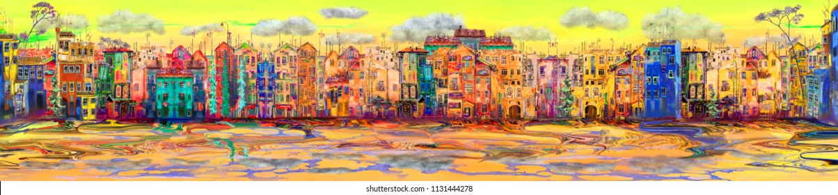 Panarama of bright morning town, oil painting artwork