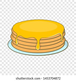 Pancakes with honey icon in cartoon style isolated on background for any web design