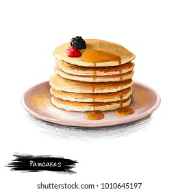 Pancakes with maple sirup and fresh berries isolated on white background. Flapjack Street food, take-away, take-out. Fast food hand drawn digital illustration. Graphic clip art design for web, print