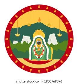 Panchabhuta Places (Sthalam)- Thiruvanamalai - Agni Lingam - Arunachaleshwar Temple - Shiva emerged as a infinite column of fire on the annamalai hills, shown with the temple gopurams.