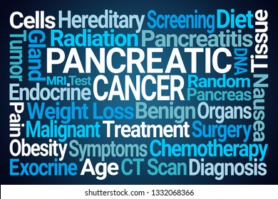 Pancreatic Cancer Word Cloud on Blue Background