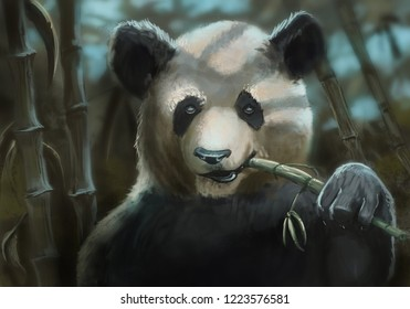 Panda bear in a bamboo patch chewing on a stalk of bamboo - digital painting