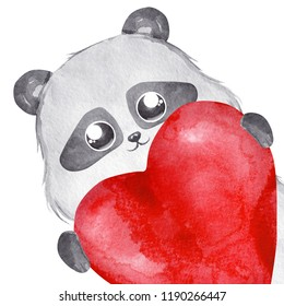 Panda bear holding a big red heart. Watercolor illustration
