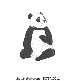 Panda clip art drawing animal illustration on white background cute animal