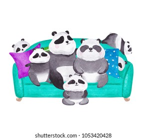 Panda family portrait. Hand drawn watercolor illustration
