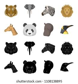 Panda, giraffe, hippopotamus, penguin, Realistic animals set collection icons in black,cartoon style bitmap symbol stock illustration web.