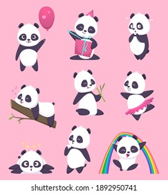 Panda kids. Little funny bear sweet animals in action poses cartoon characters