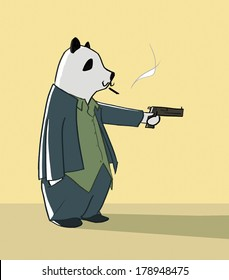 Panda in a suit smoking and holding a gun