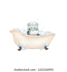 Panda taking a bath. Hand drawn watercolor illustration