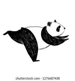 Panda in warrior joga pose. Black and white pencil illustration. Sketch hand drawn standing panda