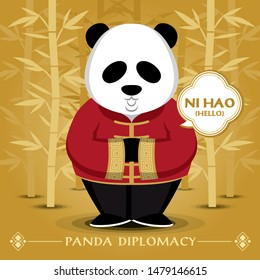 panda wears traditional costume and says hello in Chinese language. Jpeg file