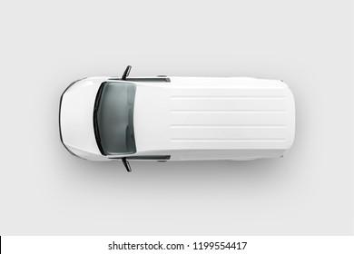 Panel Van Vehicle top view. 3D rendering