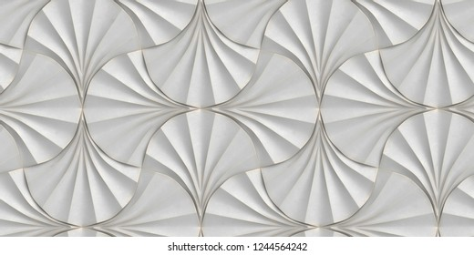 Panels in the form of white fans with worn edges. High quality seamless realistic texture.