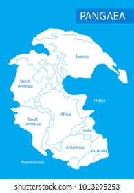Pangaea or Pangea. Illustration of supercontinent that existed during the late Paleozoic and early Mesozoic eras. Map in flat style. Element for your design, print, education. Poster.