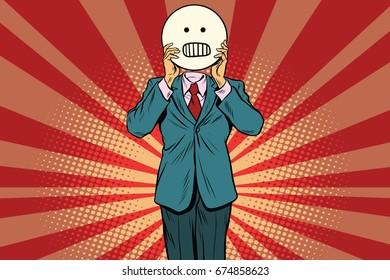 panic anger Man smiley Emoji face. Vintage pop art retro comic book  illustration