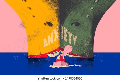 Panic and anxiety attack. Conceptual metaphor in which Anxiety is perceived like a heavy battleship threatening a person.