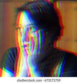 Panic attack. Glitched portrait. Glitch art. Digital painting.