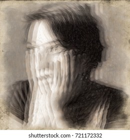 Panic attack. Glitched portrait of a young woman illustrating an anxiety disorder.