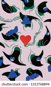 Panic to loving commitment. Folk. Colorful conceptual illustration shows commitment phobics escaping from love. Relationships issues.