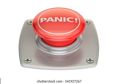 Panic red button, 3D rendering isolated on white background